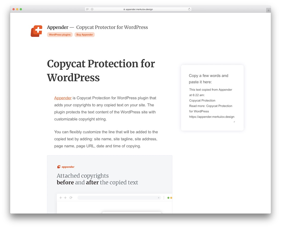 appender wordpress content protection plugin