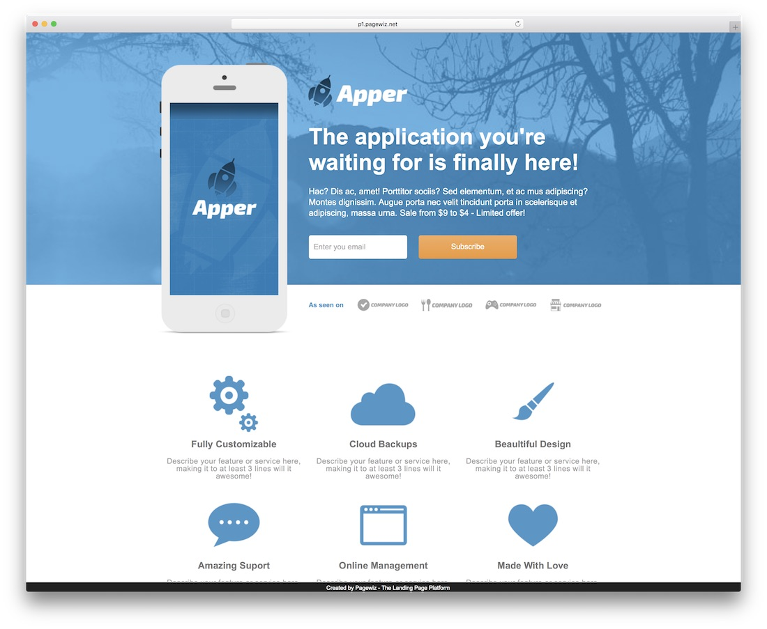 apper pagewiz landing page template