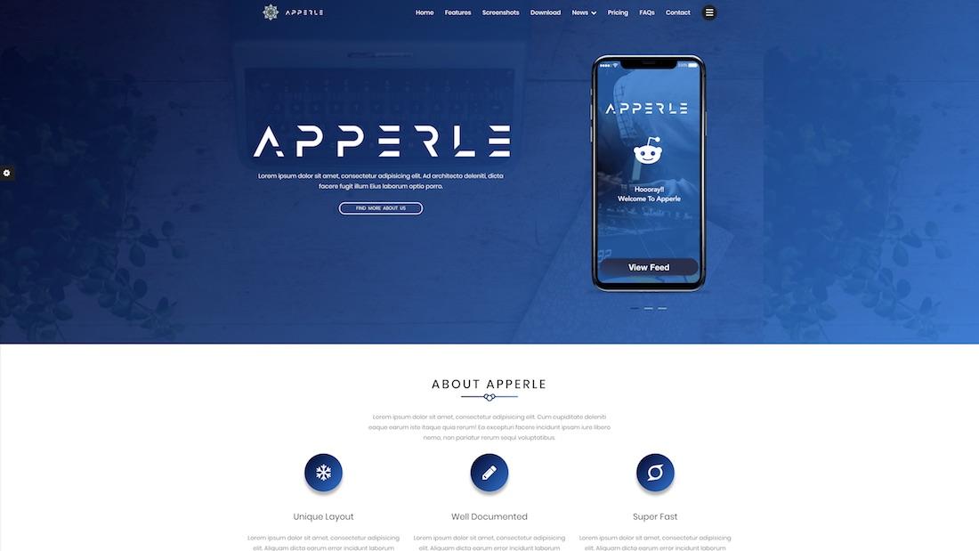 apperle technology website template