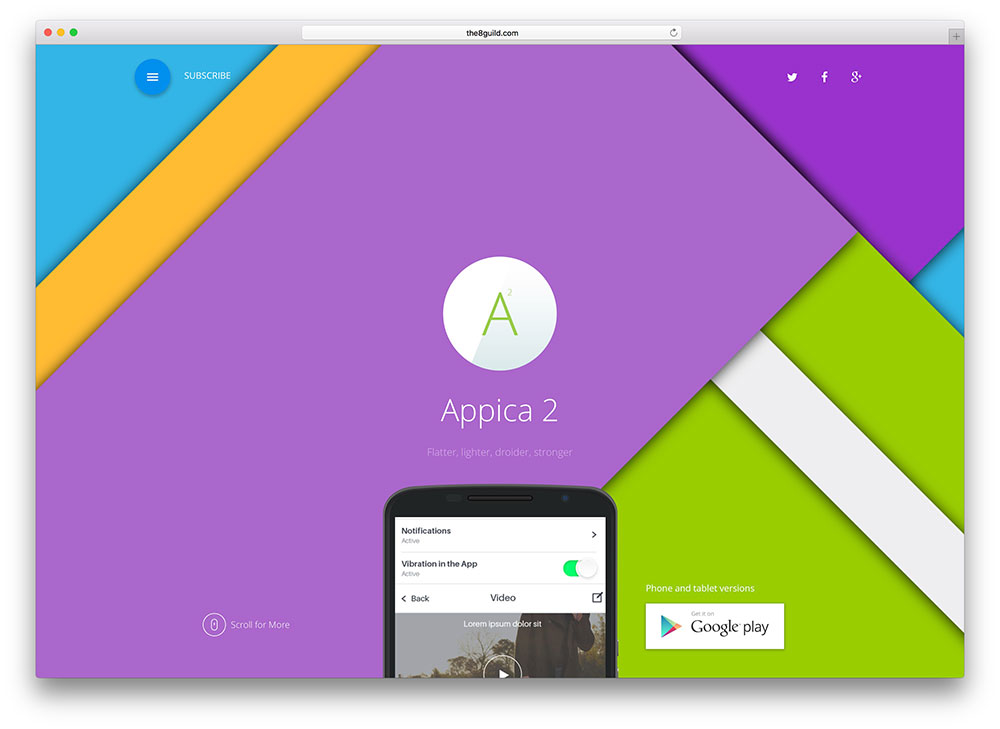 appica - material design landing page