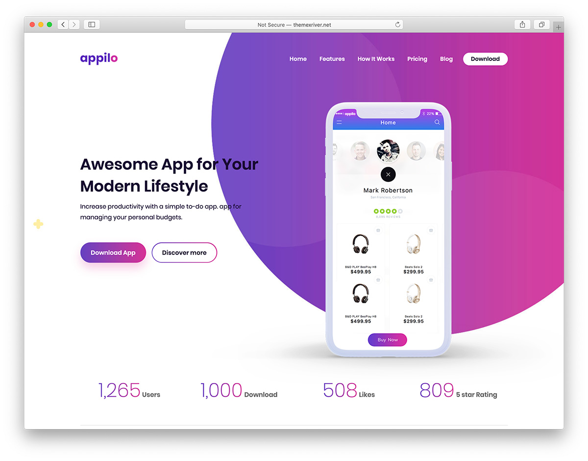 Appilio - app landing page website theme