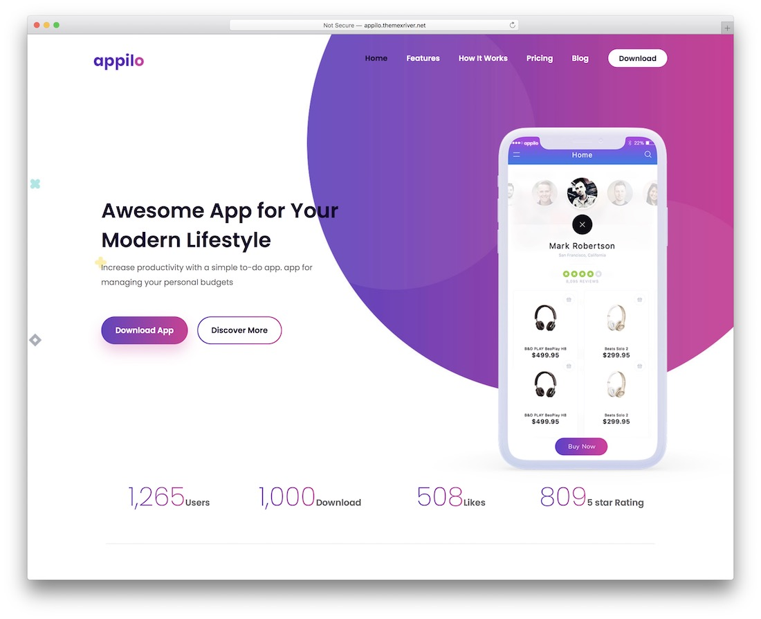 appilo landing page wordpress theme