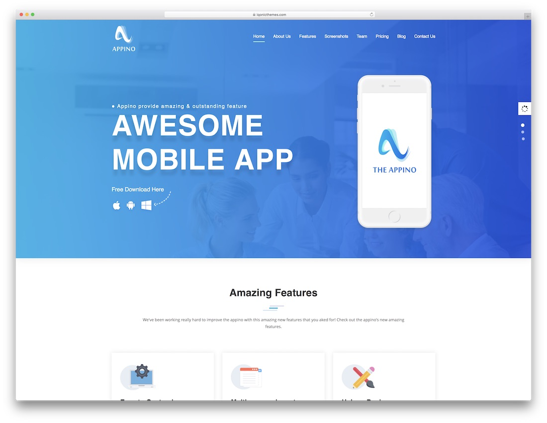 appino landing page template