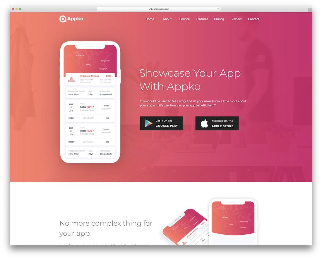 appko unbounce app landing page template