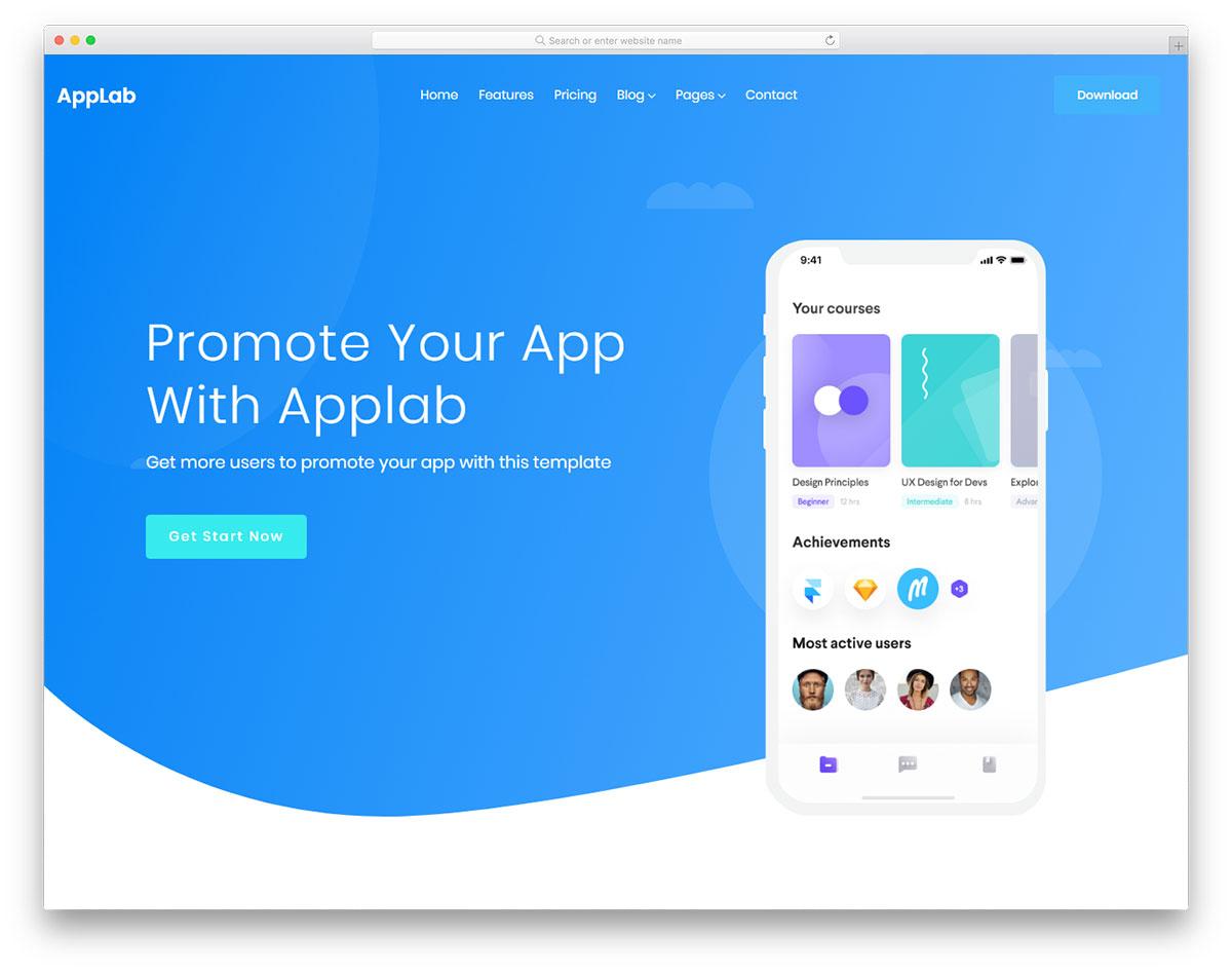 Скачать бесплатно html шаблон Applab