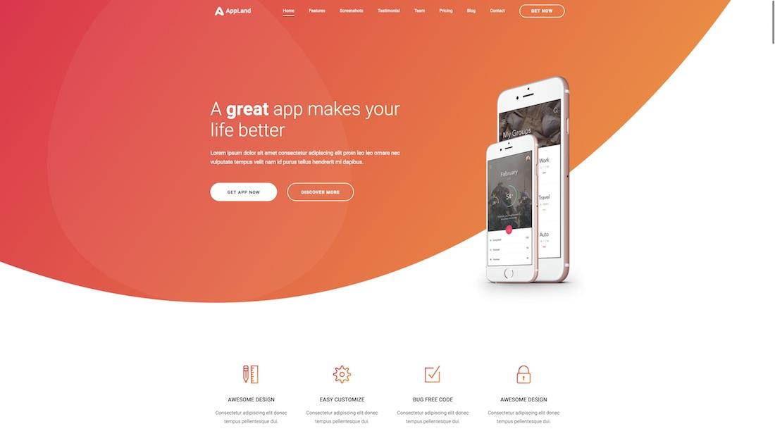 appland website template