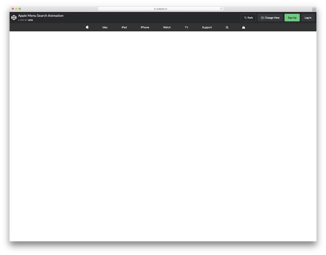 apple menu search animation