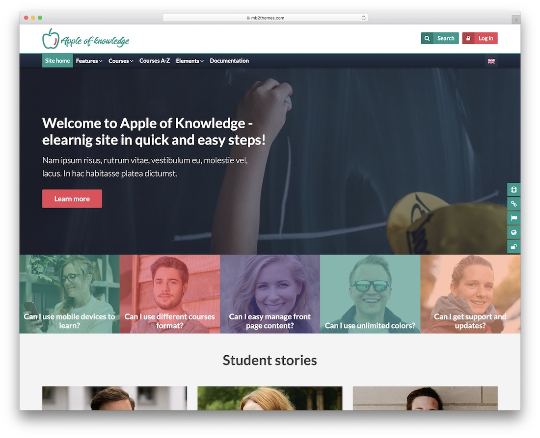 apple of knowledge moodle bootstrap template