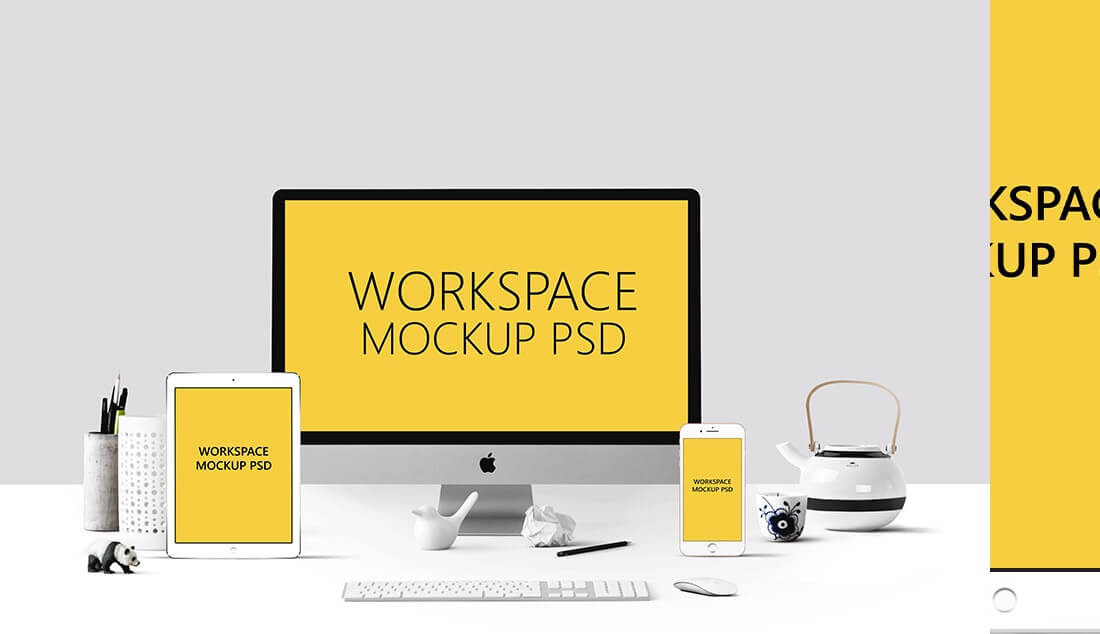 apple workspace mockup psd