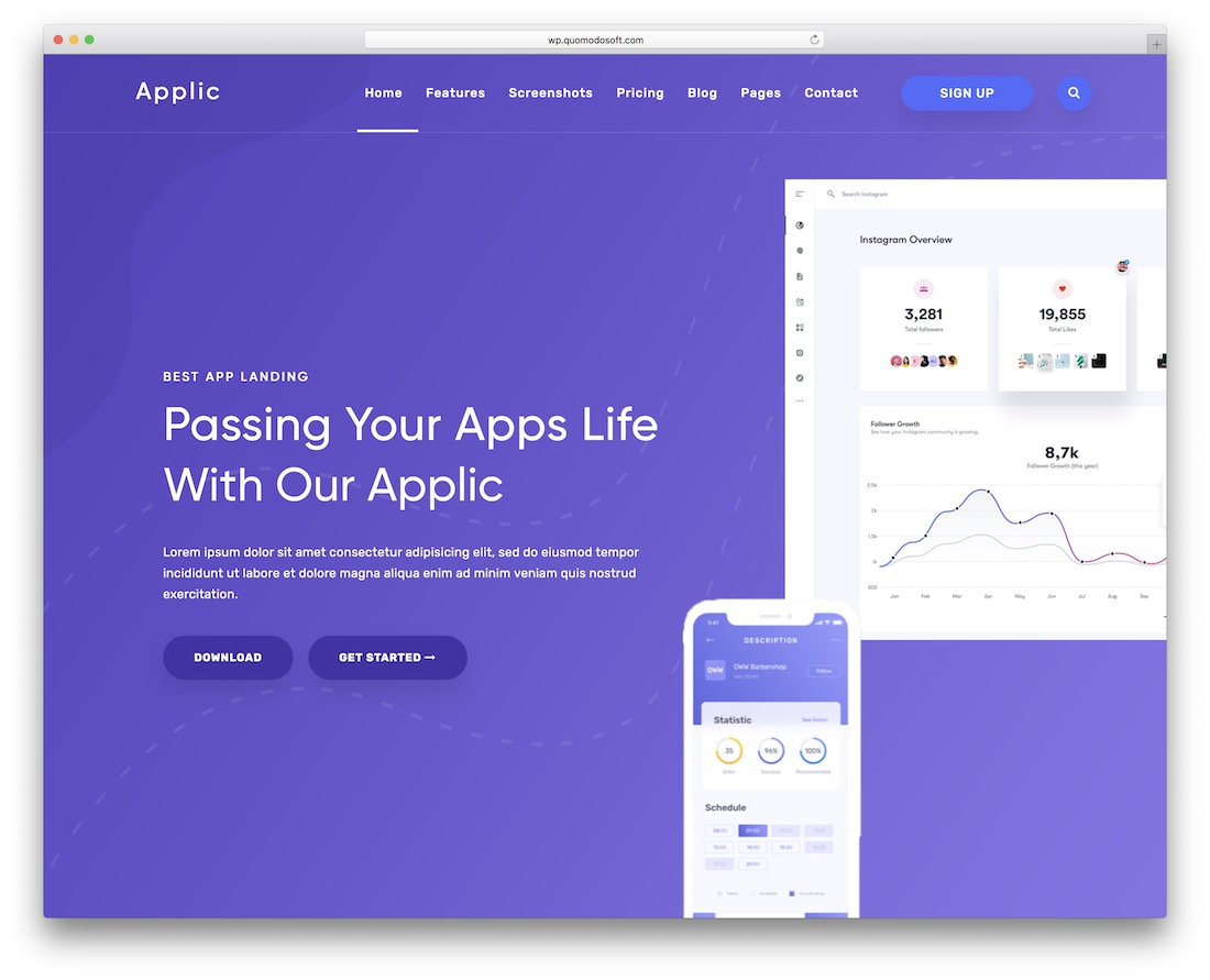 applic app showcase wordpress theme