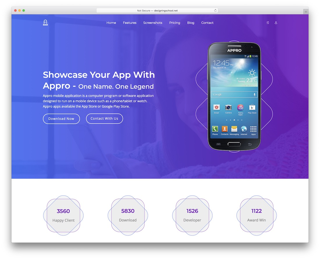 approapp clean adobe muse template
