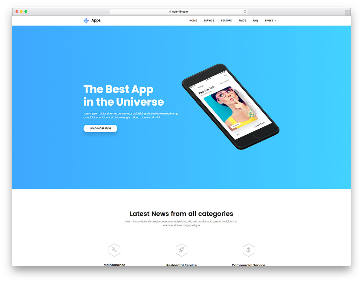Apps Free App Website Template
