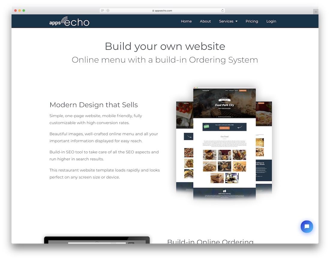 appsecho restaurant website builder