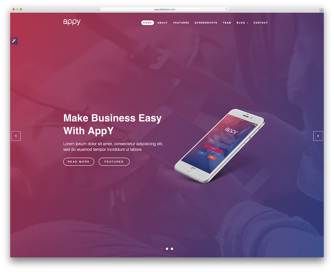 appy app landing page bootstrap business website template
