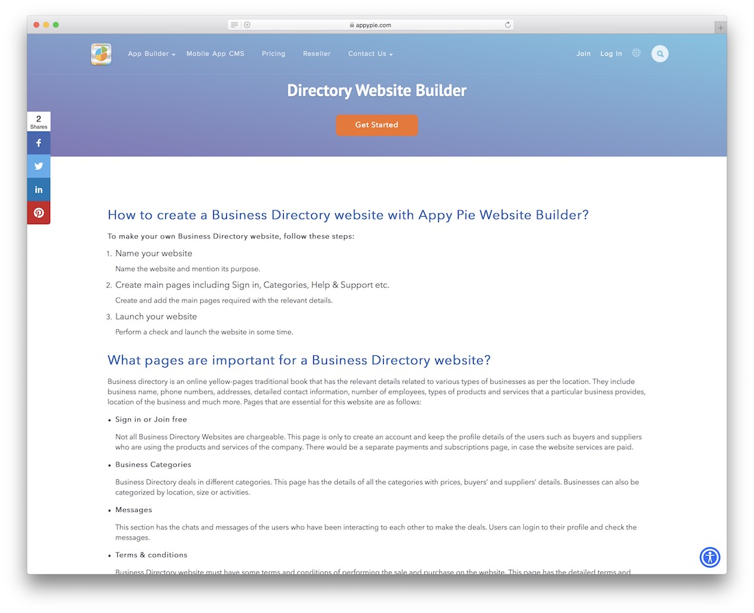 appy pie directory website builder