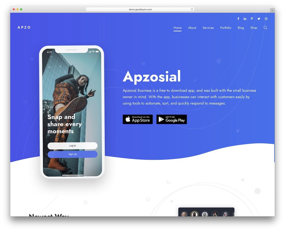 apzo app showcase wordpress theme