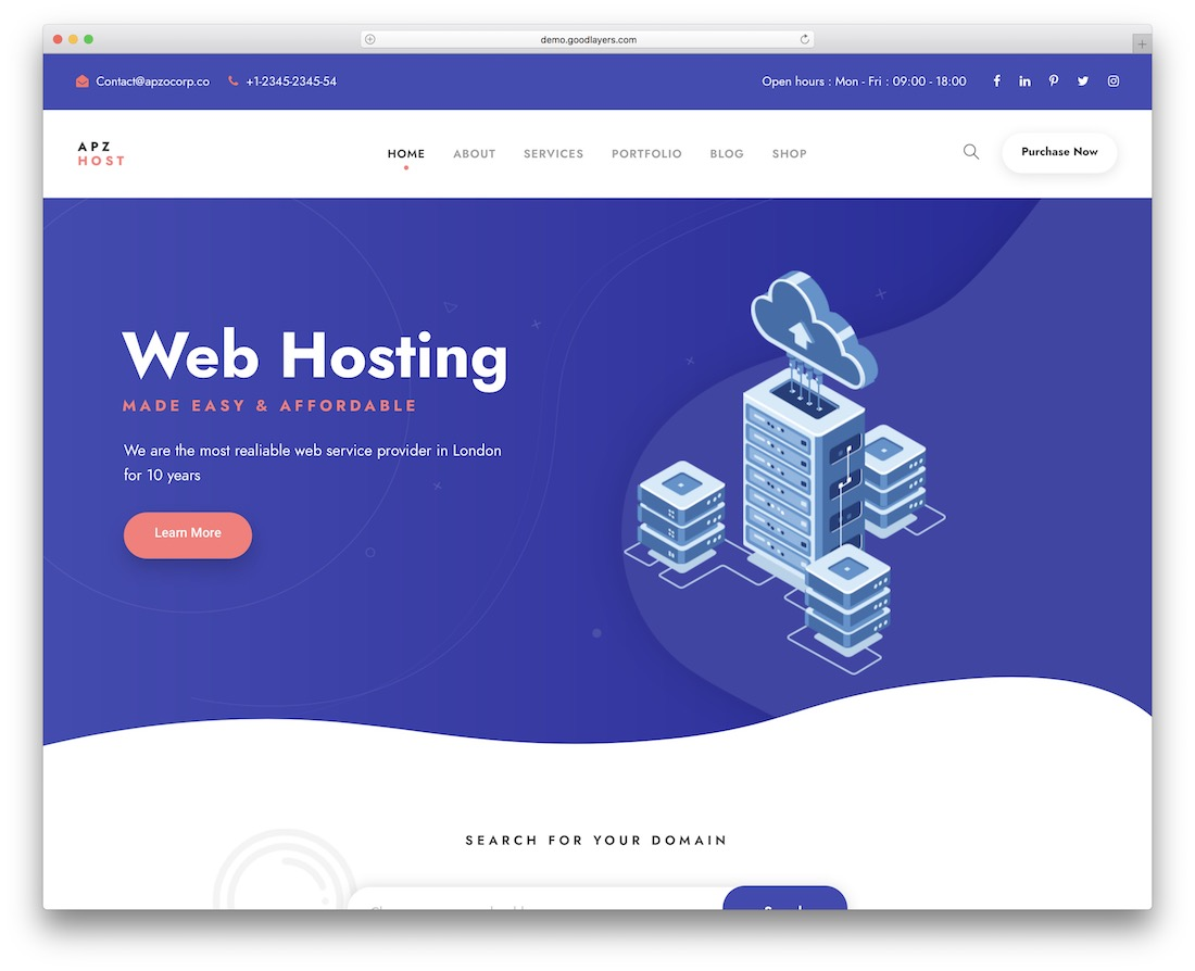 apzo hosting wordpress theme