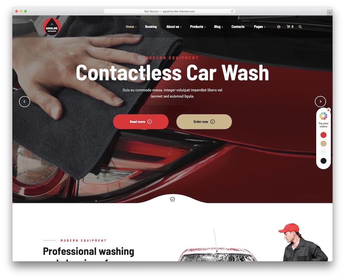 aqualine car wash wordpress theme