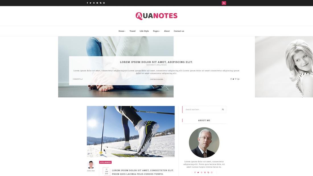 aquanotes writer website template
