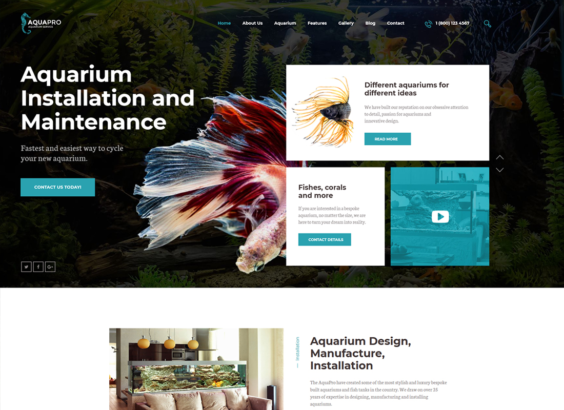 AquaPro - Aquarium Services & Online Store WordPress Theme