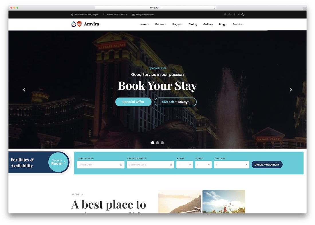 aravira html5 hotel website template