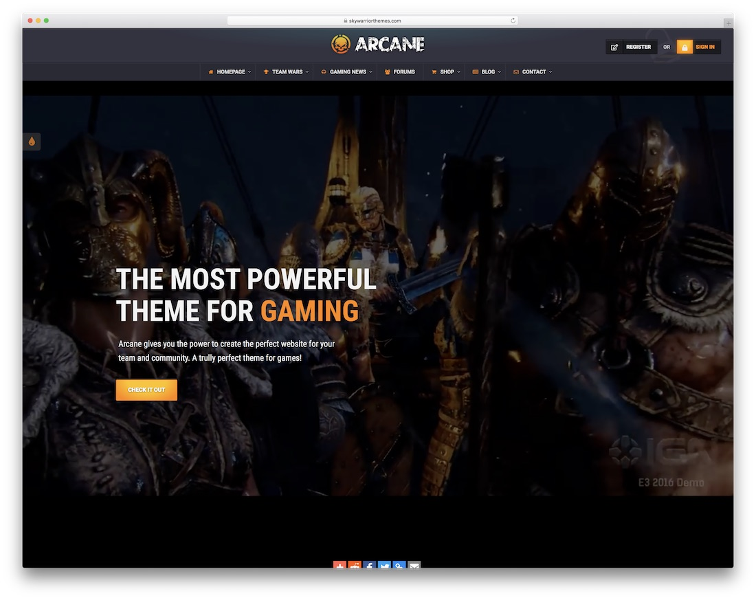 arcane gaming html website template