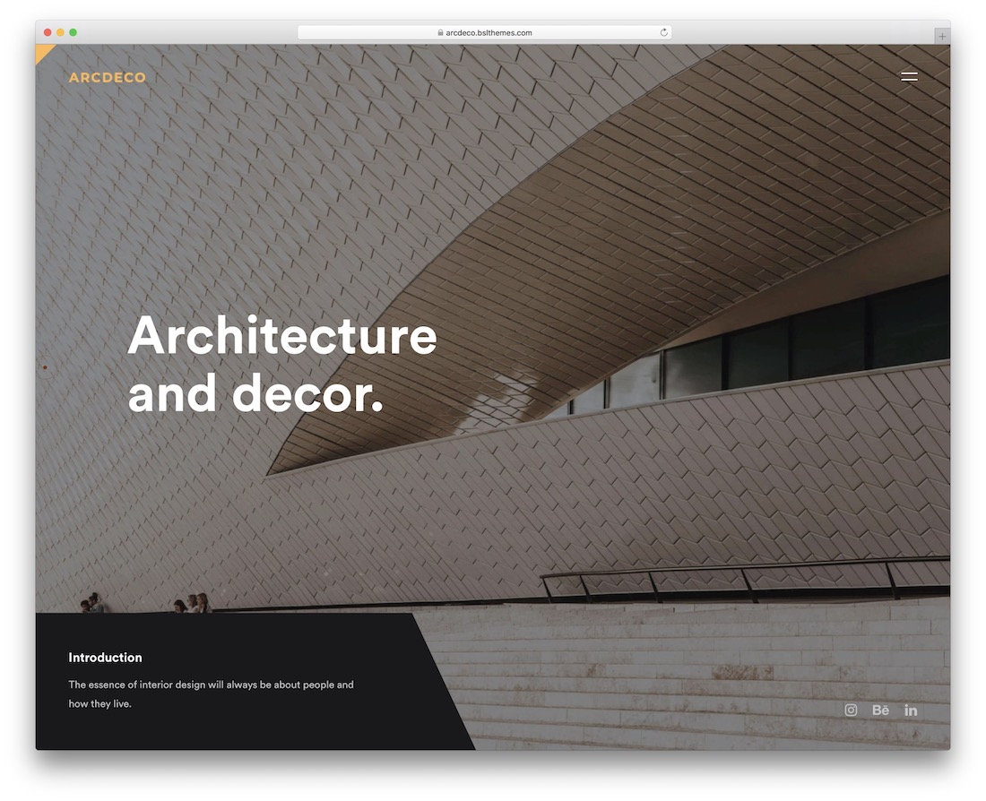 arcdeco interior design wordpress theme