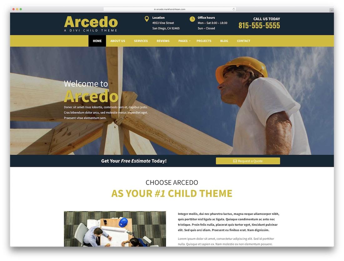 arcedo construction divi child theme