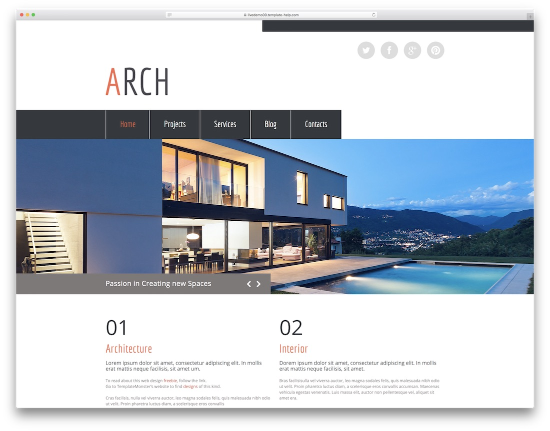 arch website template