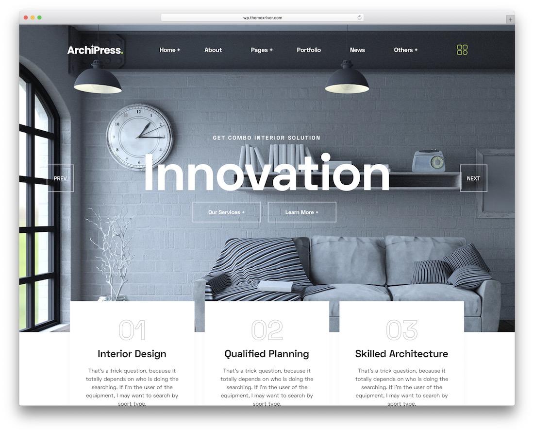 archipress interior design wordpress theme
