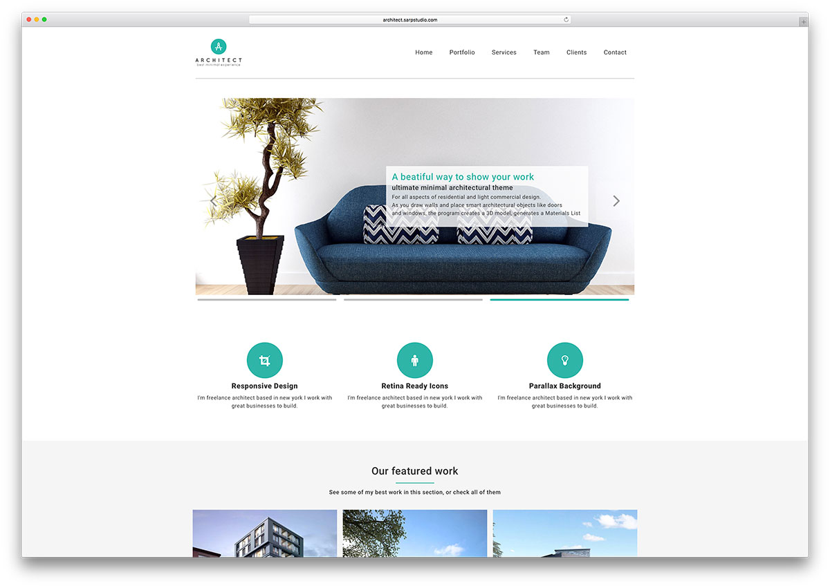 Architect Simple Wordpress Business Portfolio Theme  Company Portfolio Template