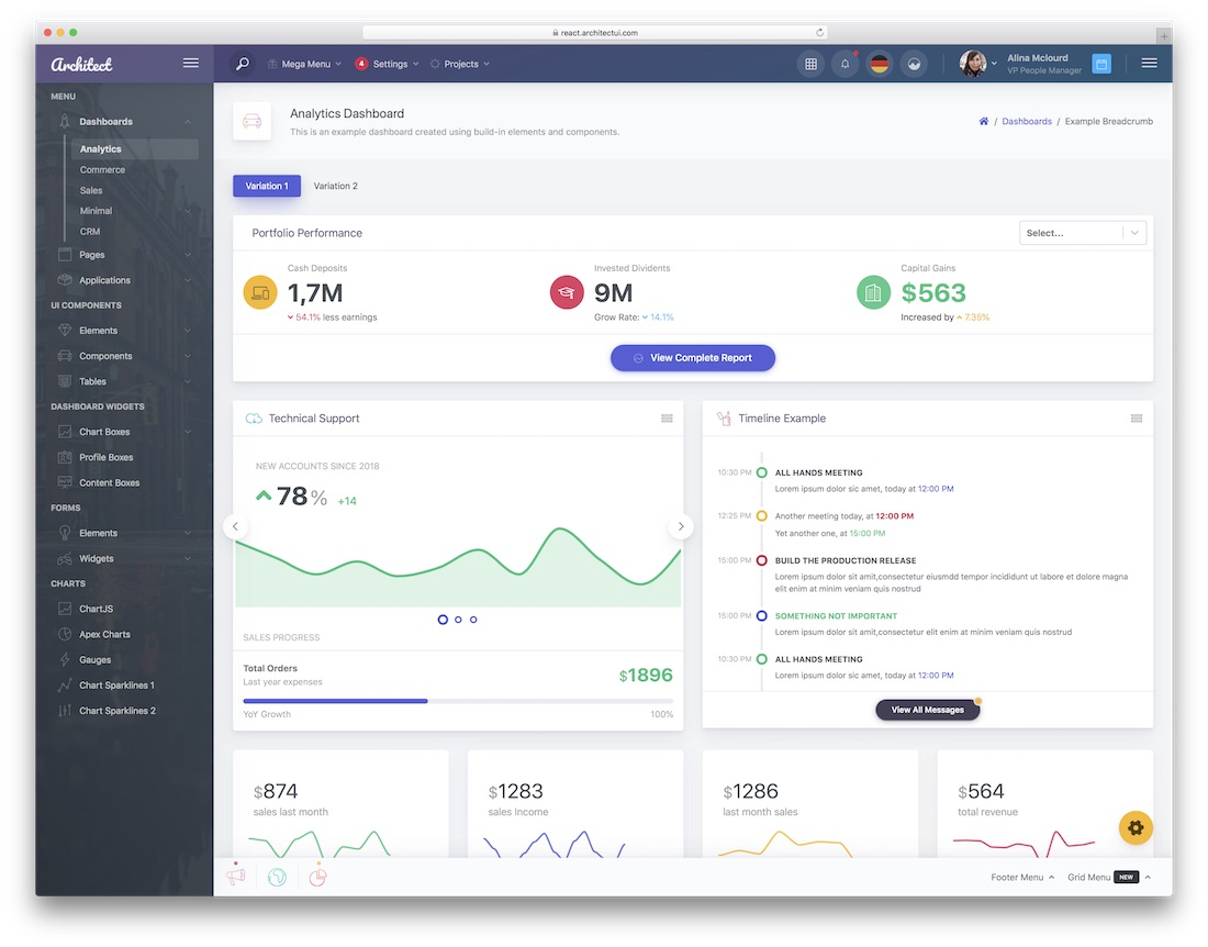 architectui react dashboard template