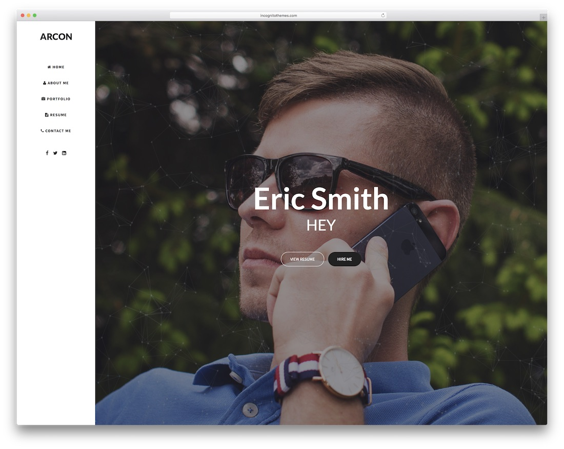 arcon html resume cv website template