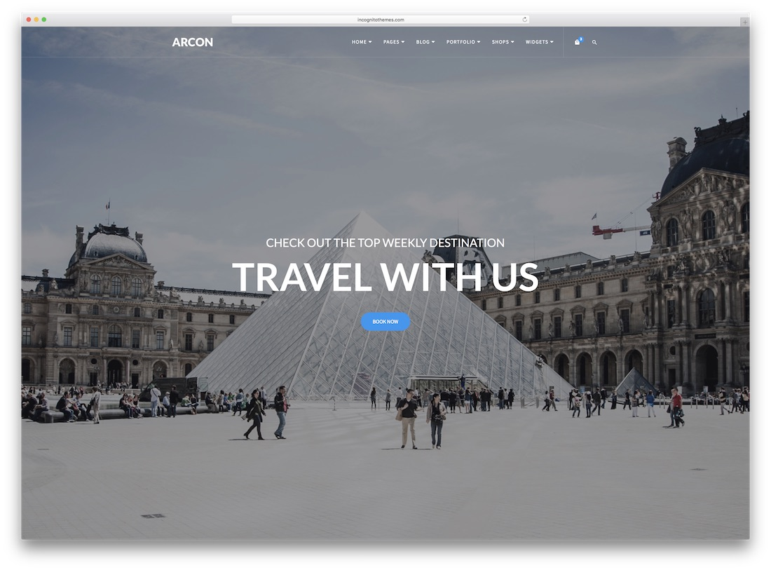 arcon travel website template