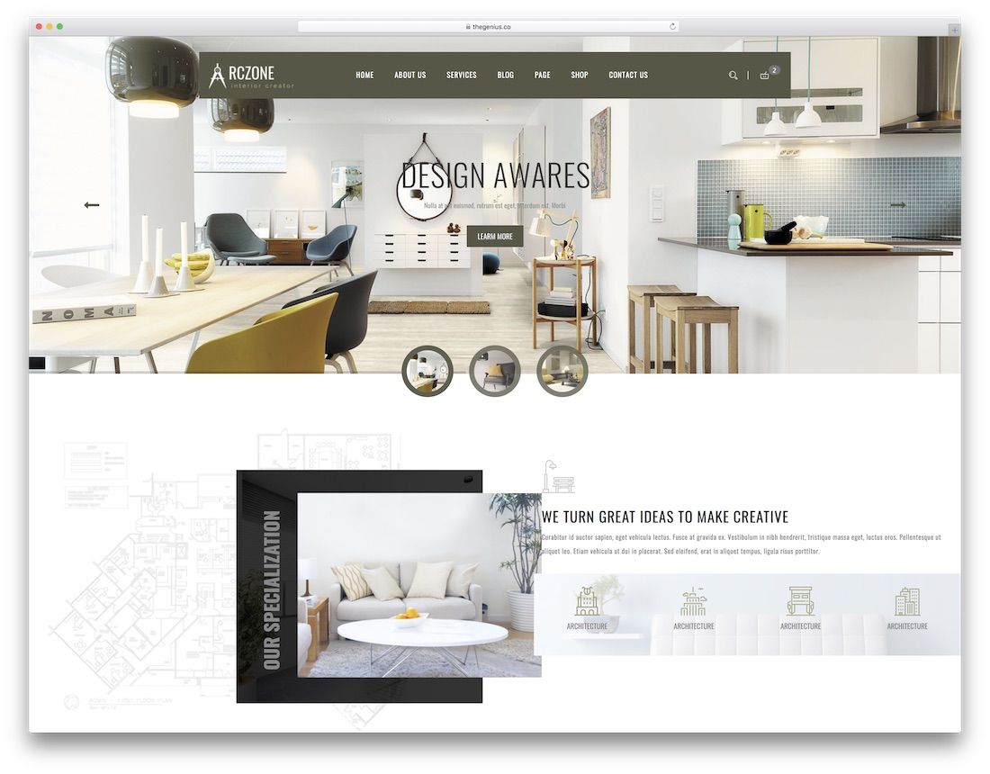 Arczone Interior Design Website Template