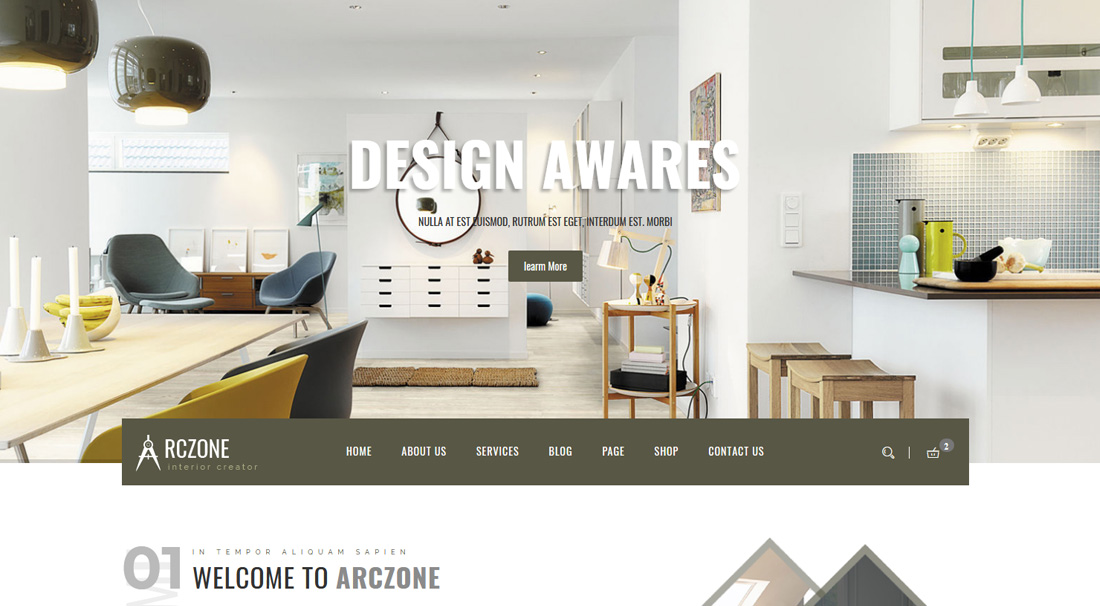 arczone is a trendy looking website template the minimal design of the template helps to boast your project visually to the users the arczone provides you - Interior Design Web Templates