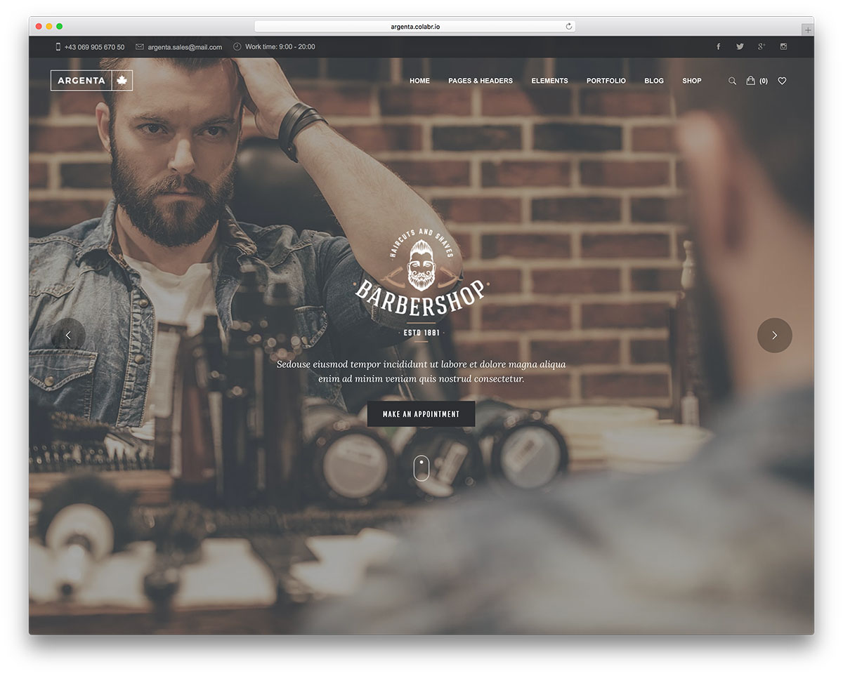 Argenta - Barber shop WordPress theme