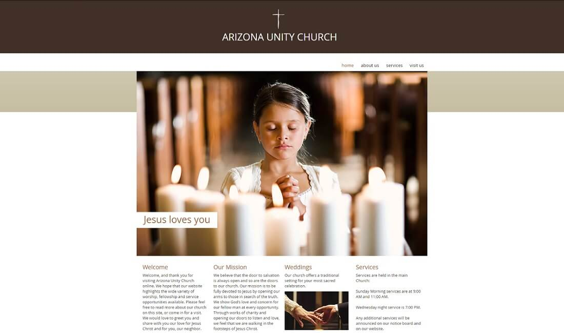 arizona unity church free church website template