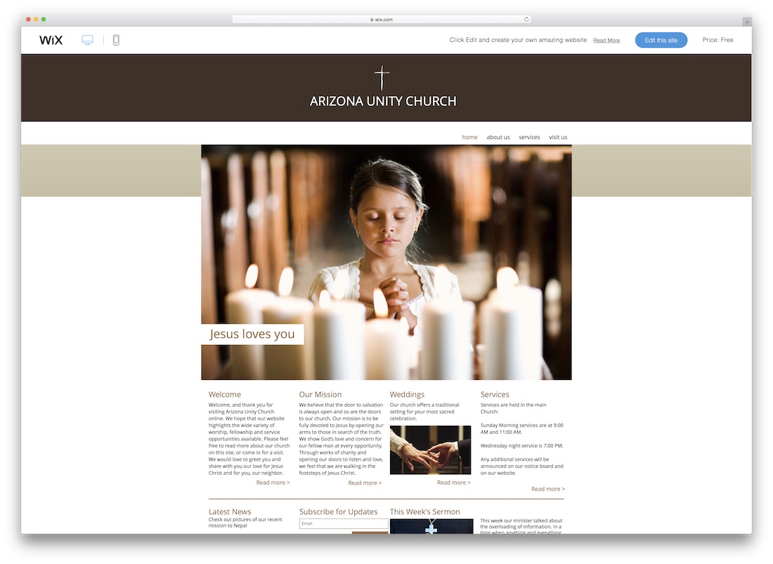 arizona unity church website template