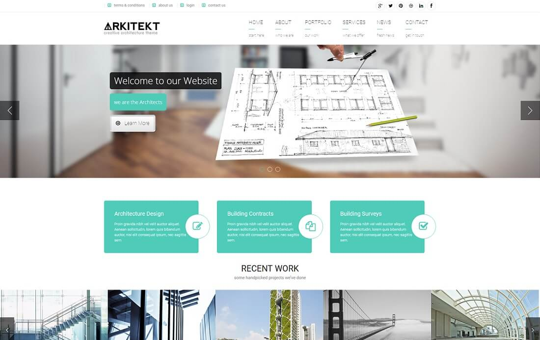 arkitekt HTML construction company template