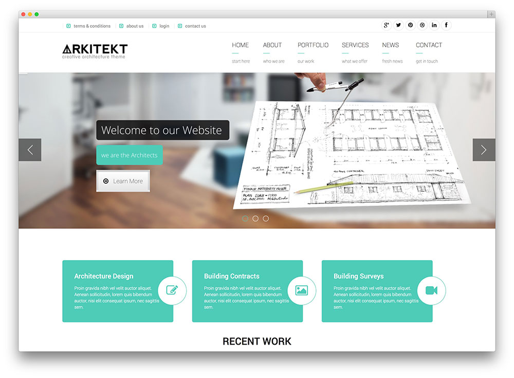 arkitekt architecture wordpress theme