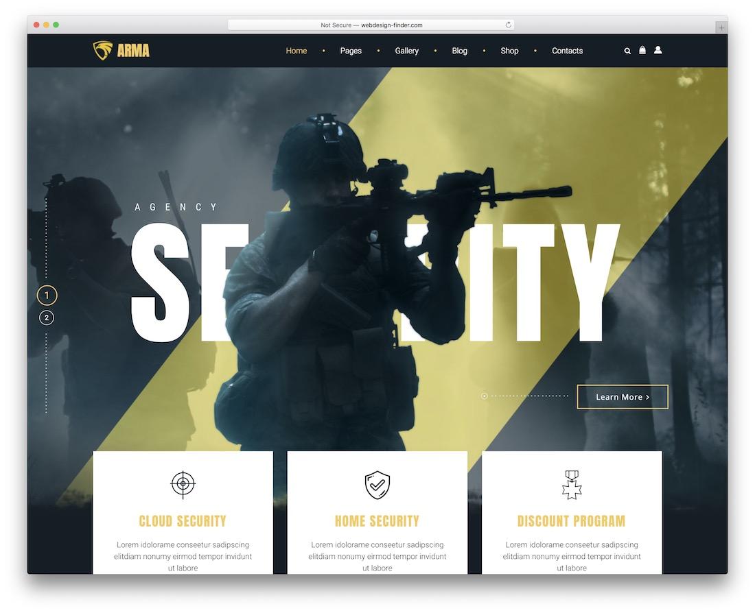 arma security service wordpress theme