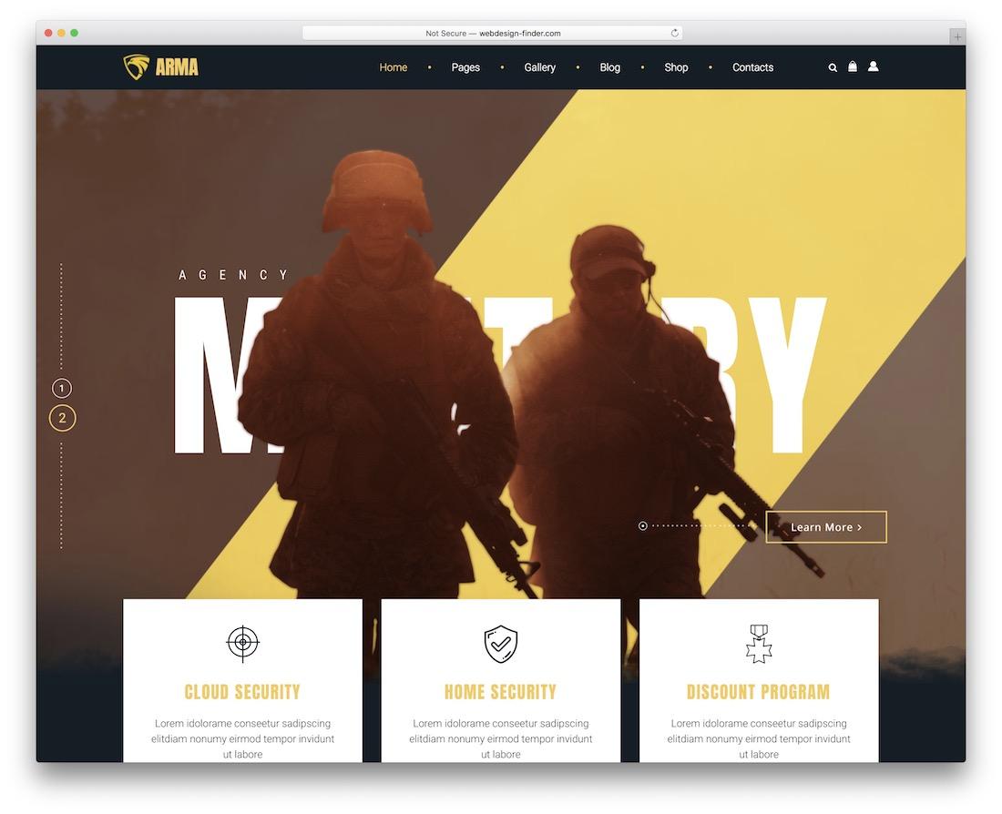 arma wordpress military theme