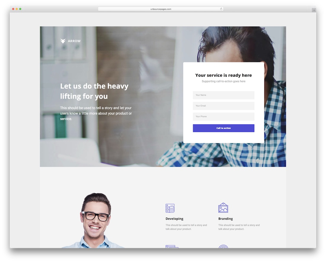 arrow creative unbounce landing page template