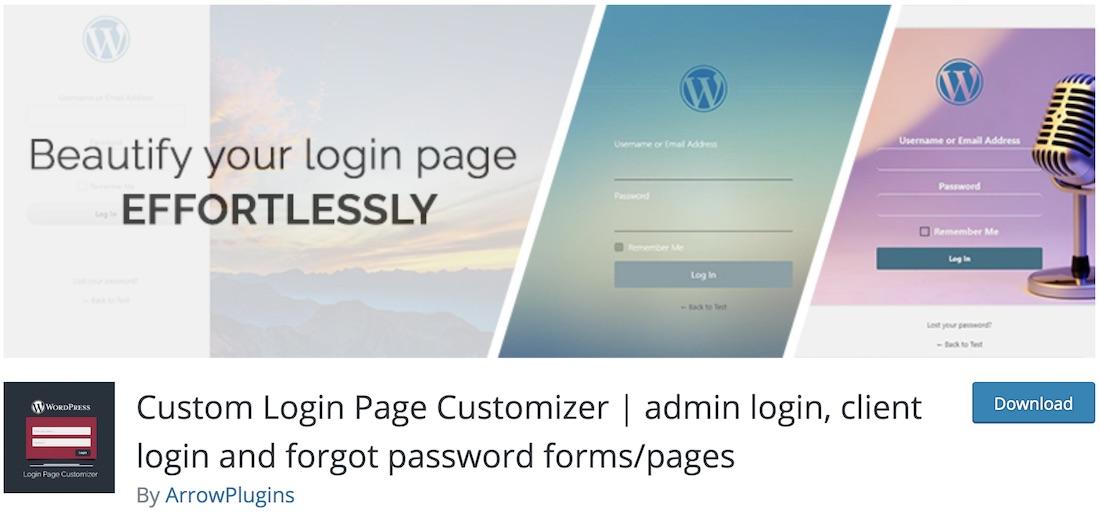 arrow login page customize login page plugin