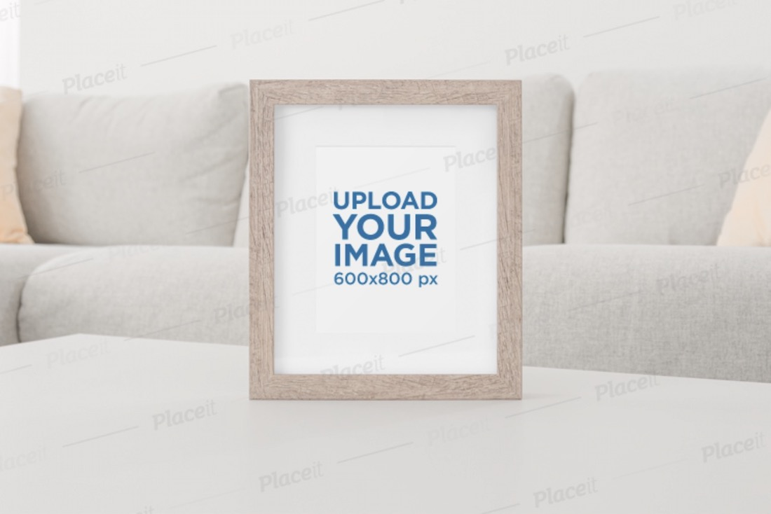 art print mockup featuring a wooden picture frame