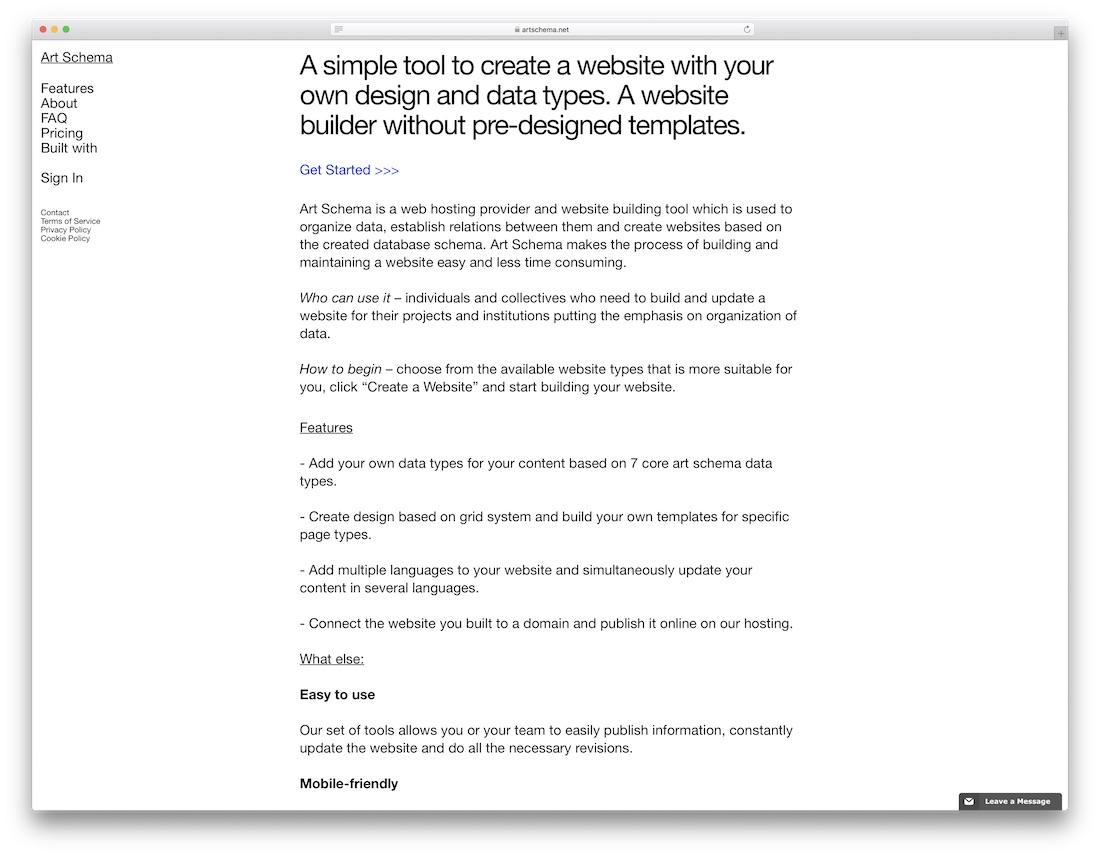 art schema best portfolio website builder