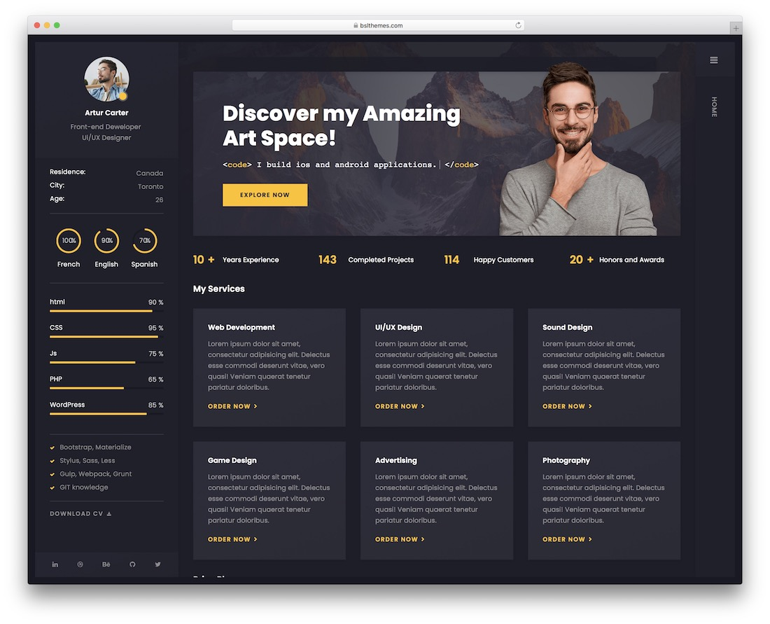 arter wordpress resume theme
