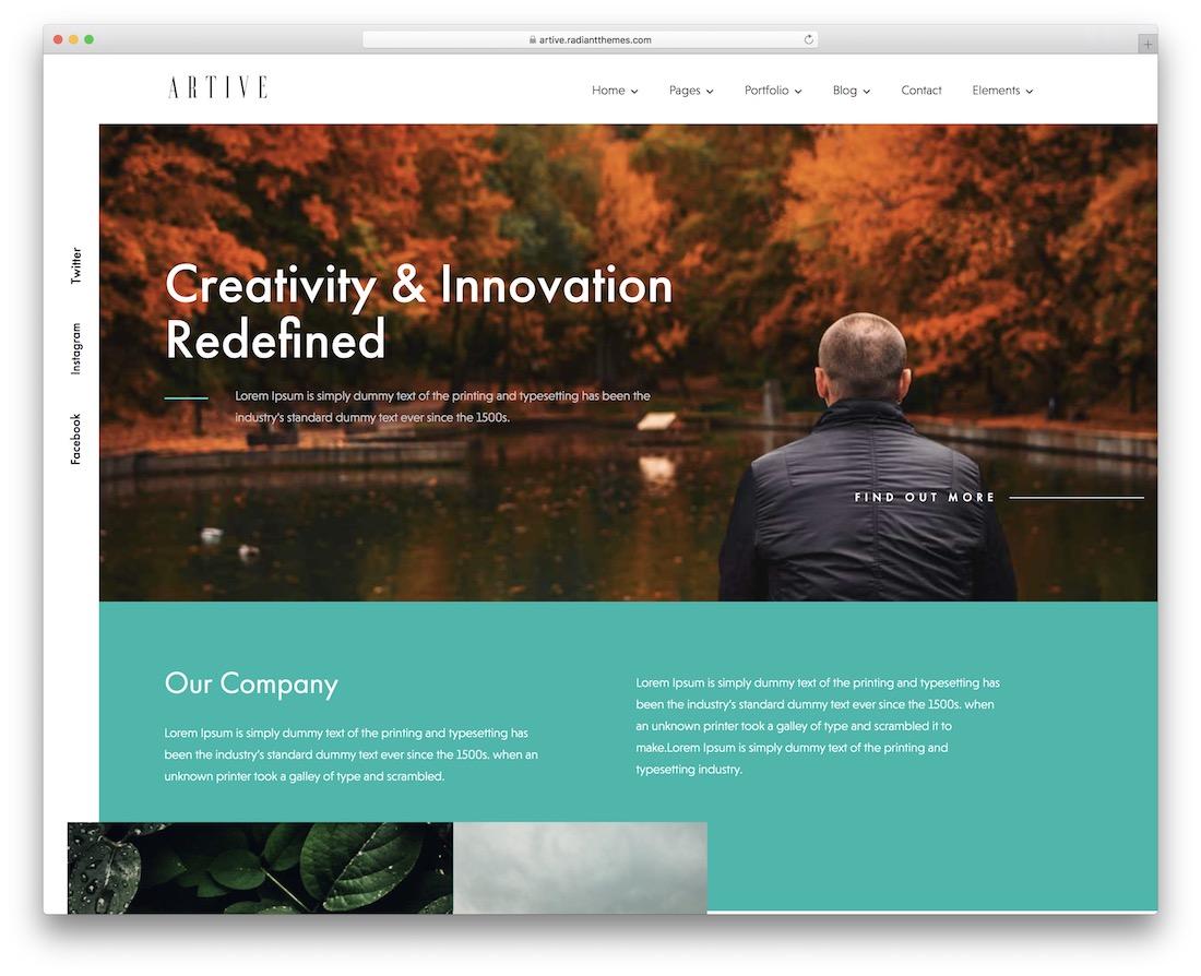 artive creative agency wordpress theme