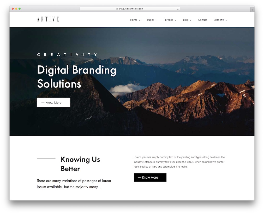 artive wordpress theme for freelancers